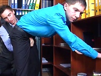 Lusty dude makes his gay colleague swallow his meat and take it up the ass