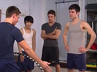 Hot and slender Wolfie is teaching Blaine, Krys Perez, and Chico to gyrate their twink bubble butts like pro's
